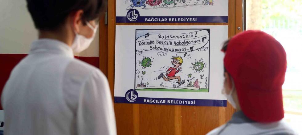 Çocuklar virüs tedbirlerini karikatürle öğreniyor
