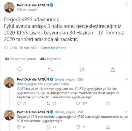 ÖSYM Başkanı Aygün'den 'KPSS' açıklaması
