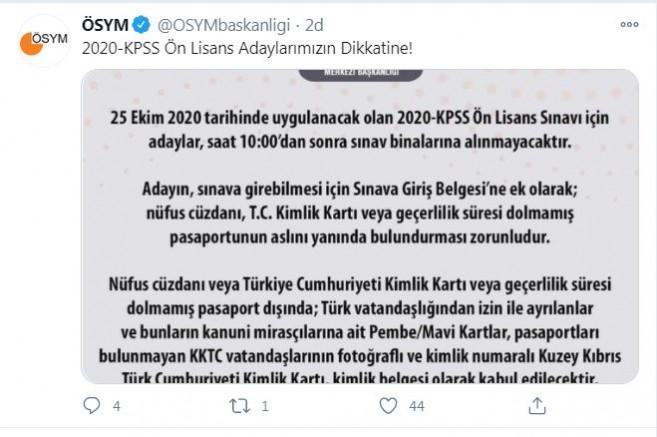 ÖSYM'den 2020-KPSS adaylarına 'saat' uyarısı