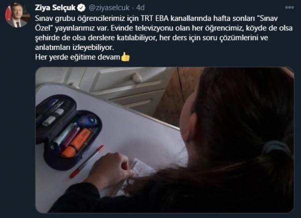 Ziya Selçuk'tan EBA TV sınav duyurusu
